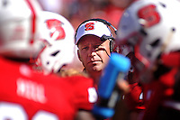 Head football coach Dave Doeren during a time-out during homecoming game in Carter-Finley Stadium.