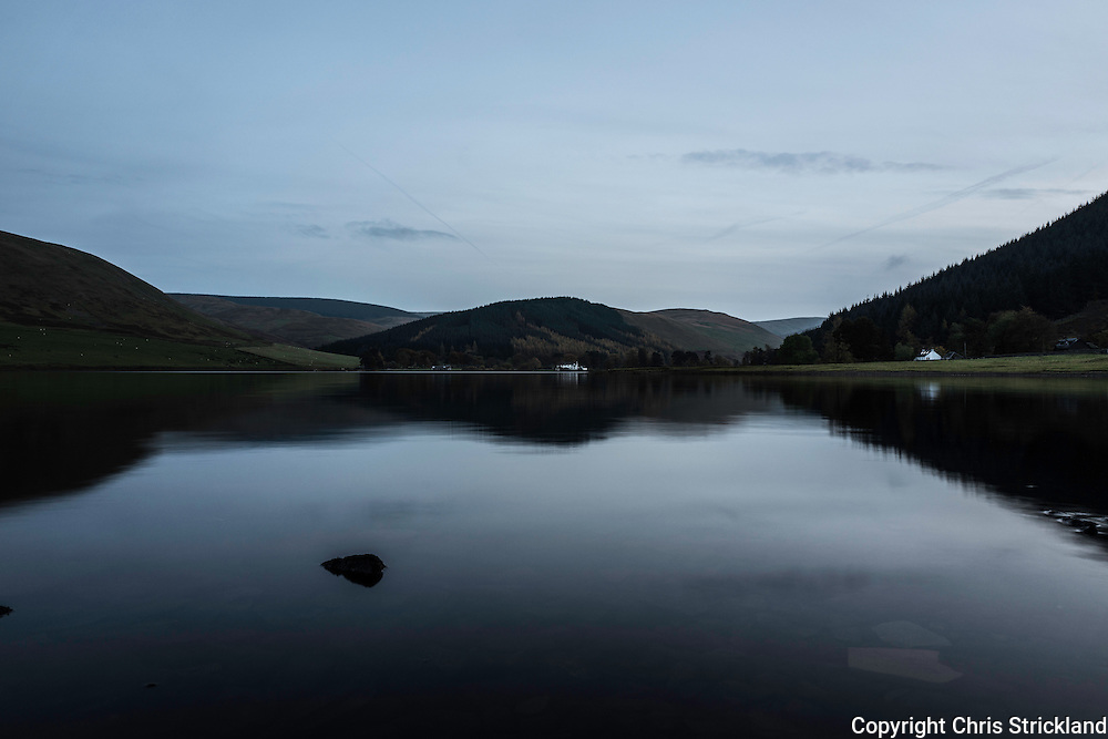 Autumnal twilight at St Mary's Loch in the Scottish Borders.