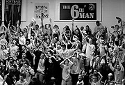 "Members of the ""Sixth Man"" cheering squad of Greece-Athena High erupt in cheers as team manager Jason McElwain hits his third three-pointer in the fourth quarter of the last home game against Spencerport High on Wednesday, February 15.  Athena earned a three-way share of the Monroe County Division II basketball title by defeating Spencerport 79-43, thanks in part to a 20-point performance in the last four minutes by McElwain.  McElwain who has autism and has been the team manager of Athena for the past two seasons."