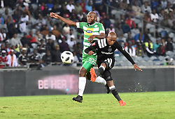 Luvuyo Memela of Orlando Pirates battle for the ball with Roland Pfumbidzai of Bloemfontein Celtic during the ABSA premiership league at Orlando stadium; Soweto.; Picture: Itumeleng English/ African News Agency /ANA; 04.04.2018