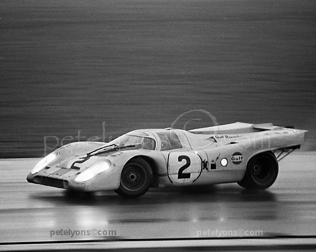 Pedro Rodriguez spins the winning Porsche 917K during an early Sunday morning rain shower at the 1971 Daytona 24 Hour; PHOTO BY Pete Lyons 1971 / www.petelyons.com