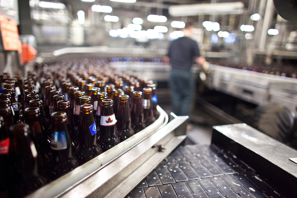 London, Ontario ---11-04-19--- Empties wait to be cleaned at Labatt London Brewery where they have implemented several technologies to conserve water.<br /> GEOFF ROBINS The Globe and Mail