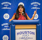 Diana Davila comments during Athletic Signing Day at the Pavilion, February 1, 2017.