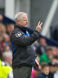 PRESTON, ENGLAND - Saturday, September 24, 2011: Tranmere Rovers boss Les Parry passes on instructions against Preston North End during the Football League One match at Deepdale. (Pic by Dave Kendall/Propaganda)
