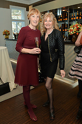 Left to right, PATRICIA VAZ and DEBBIE MOORE at a dinner in honour of Veuve Clicquot Business Woman Award UK Previous Winners held at Moet Hennessy, 18 Grosvenor Gardens, London on 8th April 2014.