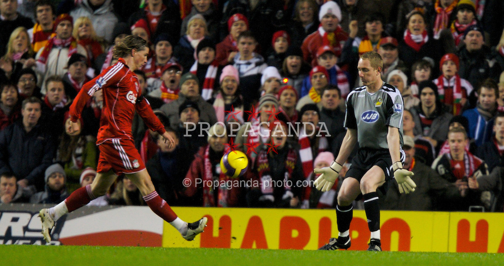 LIVERPOOL, ENGLAND - Wednesday, January 2, 2008: Liverpool's Fernando Torres scores past Wigan Athletic's goalkeeper Chris Kirkland but the goal is disallowed during the Premiership match at Anfield. (Photo by David Rawcliffe/Propaganda)