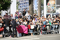 Brad Pitt fans wait outside  the Killing Them Softly gala screening at the 65th Cannes Film Festival France. Tuesday 22nd May 2012 in Cannes Film Festival, France.