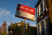 For sale sign for Kinleigh Folkard & Haywood outside property in Fawnbrake Road, London SE24.