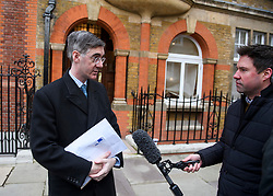 © Licensed to London News Pictures. 29/01/2019. London, UK. Brexiteer JACOB REES-MOGG is seen leaving his home in Westminster, London. MPs will today (Tues) vote on a series of amendments to the Prime Minister's plans that could shape the future direction of Brexit. . Photo credit: Ben Cawthra/LNP