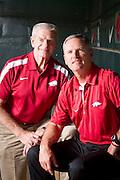 Arkansas Razorback baseball Coach Dave Van Horn and former Coach Norm DeBriyn at Baum Stadium in Fayetteville, Arkansas