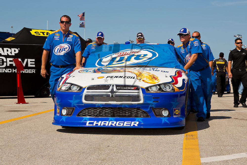 DAYTONA BEACH, FL - JUL 07, 2012:  Brad Keselowski (2) and the Miller Lite Dodge prepare for the Coke Zero 400 at the Daytona International Speedway in Daytona Beach, FL.