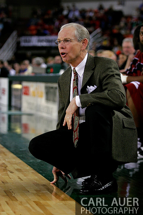 24 November 2005: 2004 SEC Coach of the Year, Dave Odom of the University of South Carolina in the Gamecock's 65 - 60 victory over the University of Alaska Anchorage Seawolves in the first round of the Great Alaska Shootout at the Sullivan Arena in Anchorage Alaska.