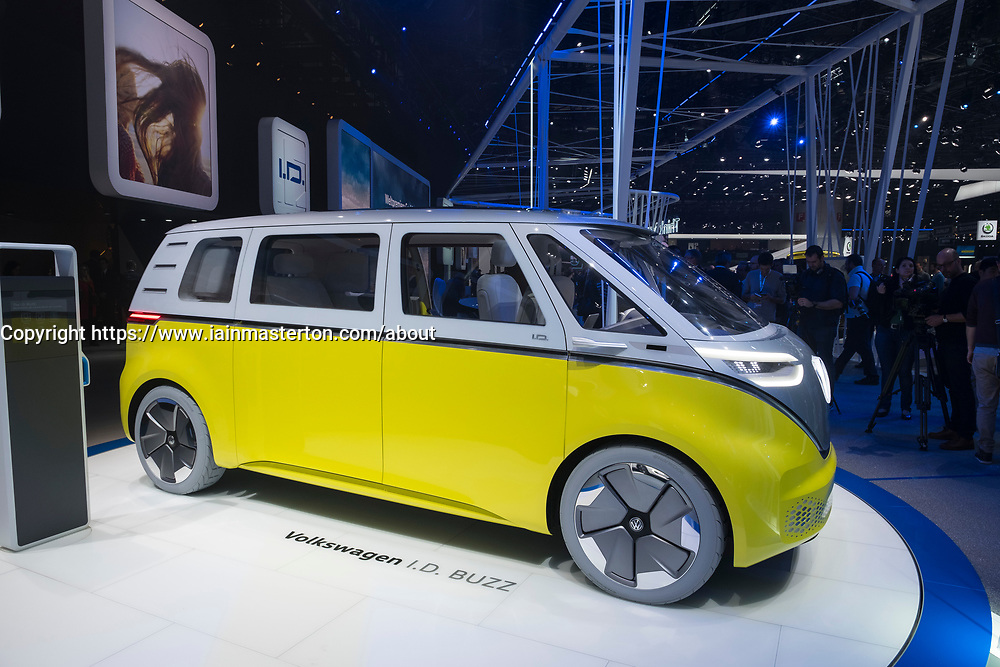 Volkswagen I.D. Buzz electric bus concept at 87th Geneva International Motor Show in Geneva Switzerland 2017