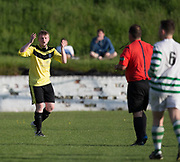 Disbelief for this Charleston player as he realises he's become the latest player to receive a red card - FC Kettledrum (green and white) v Charleston (yellow) in the Dundee Saturday Morning Football League George Mcarthur Memorial Cup Final at Glenesk, Dundee, Photo: David Young<br /> <br />  - &copy; David Young - www.davidyoungphoto.co.uk - email: davidyoungphoto@gmail.com