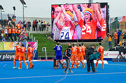 The Dutch team acknowledge their supporters. The Netherlands v Germany - Final Unibet EuroHockey Championships, Lee Valley Hockey & Tennis Centre, London, UK on 29 August 2015. Photo: Simon Parker