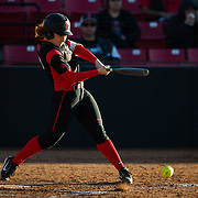 02 March 2018: San Diego State softball hosts Minnesota on day two of the San Diego Classic I at Aztec Softball Stadium. San Diego State shortstop Shelby Thompson (20) reaches base on an infield single and error in the bottom of the second inning. The Aztecs beat the #21/20 Gophers 6-2.<br /> More game action at sdsuaztecphotos.com