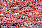 POLISH SUPPORTERS DURING FRIENDLY SOCCER MATCH BETWEEN POLAND AND DANEMARK ON SLASKI STADIUM IN CHORZOW, POLAND..CHORZOW , POLAND , JUNE 1, 2008.( PHOTO BY ADAM NURKIEWICZ / MEDIASPORT )..PICTURE ALSO AVAIBLE IN RAW OR TIFF FORMAT ON SPECIAL REQUEST.