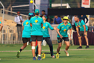 Australian players before the start of the third women's one day International ( ODI ) match between India and Australia held at the Reliance Cricket Stadium in Vadodara, India on the 18th March 2018<br /> <br /> Photo by Vipin Pawar / BCCI / SPORTZPICS