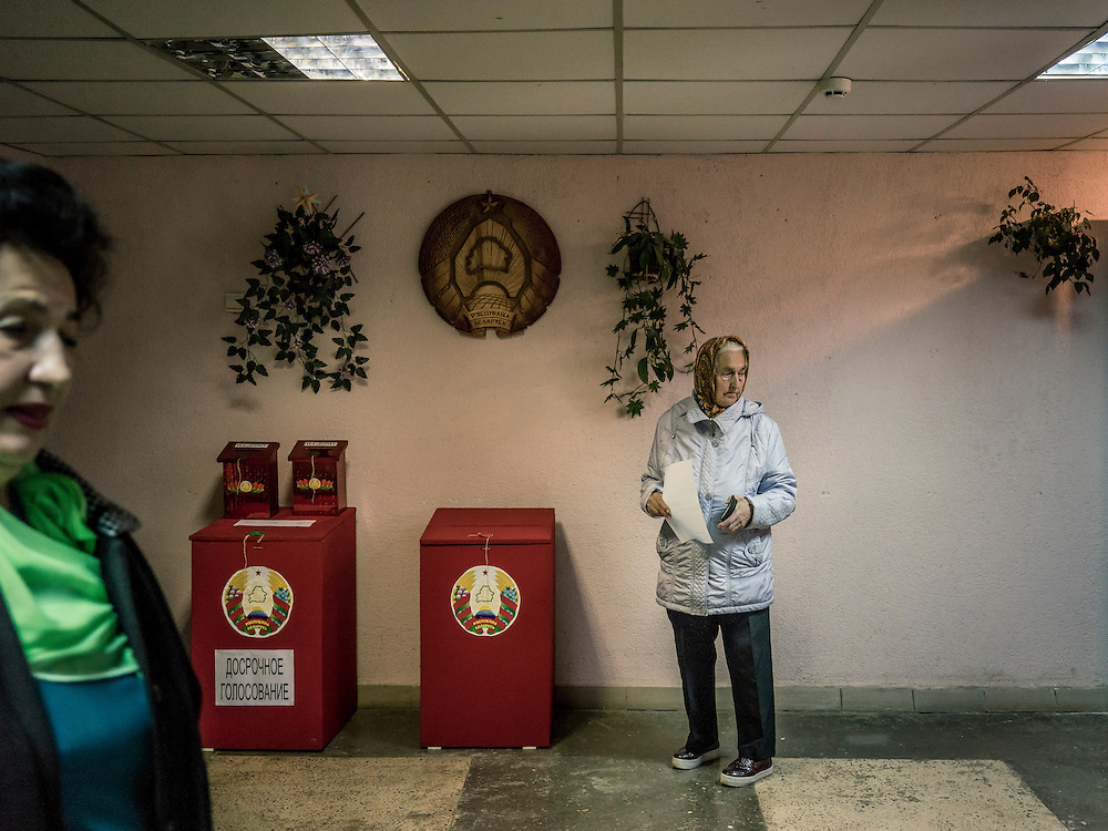 A scene inside a polling station on Sunday, October 11, 2015 in Babruysk, Belarus. The town has been proposed to house a new Russian air base, though whether that will happen is questionable. President Alexander Lukashenko, a longtime iron-fisted ruler of Belarus, was elected to a fifth term with a reported 83.5% of the vote, which international monitors said did not meet democratic standards.