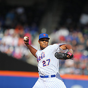 Closing pitcher Jeurys Familia, New York Mets, pitching for the save during the New York Mets Vs Miami Marlins MLB regular season baseball game at Citi Field, Queens, New York. USA. 19th April 2015. Photo Tim Clayton