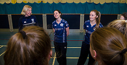 Pictured: <br /> Aileen Campbell MSP (Minister for Public Health and Sport) joined Abbi Aitken (Scotland captain) Steve Knox (Scotland women's coach), Nicola Wilson (CS women's participation manager) and Oli Rae (opener for Edinburgh and Scotland) today at Edinburgh' Fettes College to promote women's cricket ahead of the national team's trip to Sri Lanka for the ICC Women's World Cup Qualifier (in Sri Lanka) on 29 January. <br /> Ger Harley   EEm 24 January 2017
