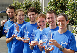 06/08/2012 .No fee for Repro: .?The Winning Lineup? .Winners of the DLR Bay 10K race (Right to Left) Barbara Cleary lady's winner, Jason Fahy winner, Fiona Roach second place lady and Eoin Brennan second place, Caroline Crowley, third place lady and Stephen Moore third place men. Pic Jason Clarke Photography