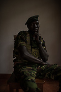 Lieutenant John Agele Adriko, 33, from Aru Province, sits for a portrait at Garamba National Park on November 25, 2017. Lt. Adriko is has been a ranger for 11 years in Garamba National Park, a park embattled with numerous threats to its wildlife.