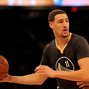 Klay Thompson, Golden State Warriors, in action against the New York Knicks. NBA Basketball. Madison Square Garden, New York. USA.  Photo Tim Clayton