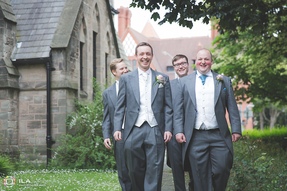 Groom and groomsmen at St. Werburghs Church, Chester. Wedding Pictures.