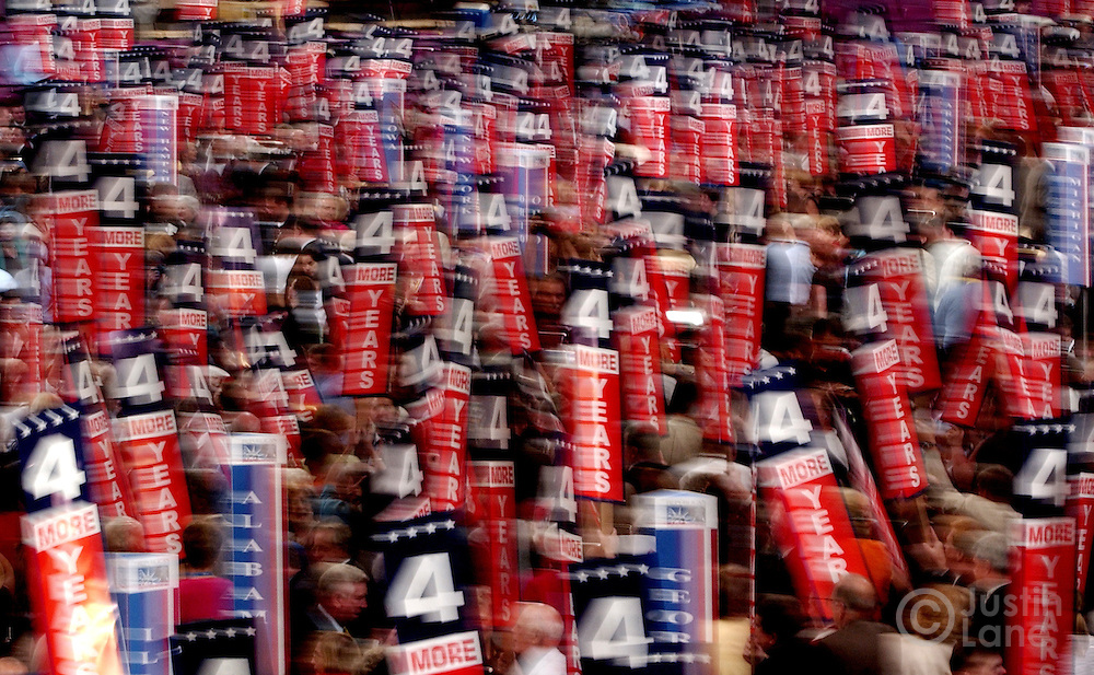 Supporters of President George W. Bush wave signs during the 2004 Republican Convention in New York.