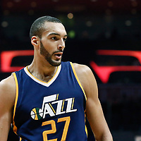 25 March 2016: Utah Jazz center Rudy Gobert (27) reacts during the Los Angeles Clippers 108-95 victory over the Utah Jazz, at the Staples Center, Los Angeles, California, USA.