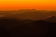Sunrise over the Blue Ridge mountains from Looking Glass Overlook outside Asheville, North Carolina.