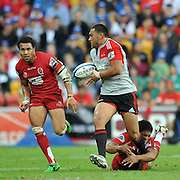 Robbie Fruean makes a strong break for the Crusaders ~ Super 15 rugby (Round 15) - Reds v Crusaders played at Suncorp Stadium, Brisbane, Australia on Sunday 29th May 2011 ~ Photo : Steven Hight (AURA Images) / Photosport