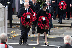 © Licensed to London News Pictures. 12/11/2017. London, UK. British Labour party leader JEREMY CORBYN and British Prime Minister THERESA MAY<br /> attend a Remembrance Day Ceremony at the Cenotaph war memorial in London, United Kingdom, on November 13, 2016 . Thousands of people honour the war dead by gathering at the iconic memorial to lay wreaths and observe two minutes silence. Photo credit: Ray Tang/LNP