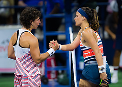 August 28, 2018 - Carla Suarez Navarro of Spain & Nicole Gibbs of the United States at the net after the first round of the 2018 US Open Grand Slam tennis tournament. New York, USA. August 28th 2018. (Credit Image: © AFP7 via ZUMA Wire)