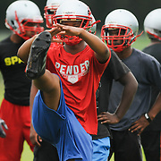 Anthony Hudson of the Pender High School football team practices at the school Friday August 1, 2014. (Jason A. Frizzelle)