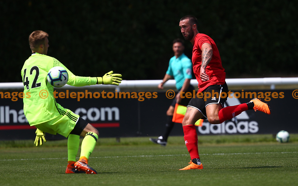 Ollie Palmer  scores during the pre season friendly between Fulham and Crawley Town at Motspur Park Training Ground, London, UK. 07 July 2018.