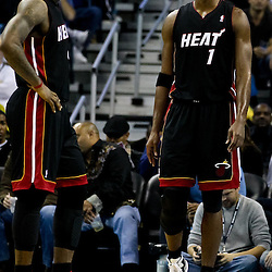 November 5, 2010; New Orleans, LA, USA;  Miami Heat small forward LeBron James (6) and power forward Chris Bosh (1) on the court during a game against the New Orleans Hornets at the New Orleans Arena. The Hornets defeated the Heat 96-93. Mandatory Credit: Derick E. Hingle