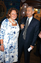 FRANK FIELD MP and ANNE JENKINS at the No Campaign's Summer Party - a celebration of the 'Non' and 'Nee' votes in the Europen referendum in France and The Netherlands held at The Peacock House, 8 Addison Road, London W14 on 5th July 2005.<br />