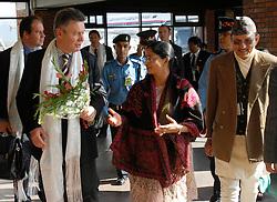 KATHMANDU, NEPAL - NOV-04-2006 - Karel De Gucht , Belgian Minister of Foreign Affairs arrives at Kathmandu Airport in Nepal.