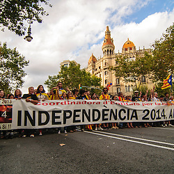 "Catalan independence supporters carry a banner that reads, ""Independence 2014, now yes!"" during National Day of Catalonia."