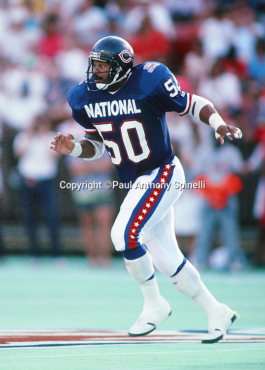 Chicago Bears linebacker Mike Singletary (50) chases the action during the 1990 NFL Pro Bowl between the National Football Conference and the American Football Conference on Feb. 4, 1990 in Honolulu. The NFC won the game 27-21. (©Paul Anthony Spinelli)
