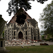 The damaged Rose Historic Chapel in Christchurch City Centre after a Powerful earth quake ripped through Christchurch, New Zealand on Tuesday lunch time killing at least 65 people as it brought down buildings, buckled roads and damaged churches and the Cities Cathedral. Photo Tim Clayton