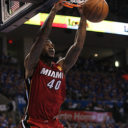 Jun 12, 2012; Oklahoma City, OK, USA;  Miami Heat power forward Udonis Haslem (40) dunks the ball against the Oklahoma City Thunder during the first quarter of game one in the 2012 NBA Finals at the Chesapeake Energy Arena.  Mandatory Credit: Derick E. Hingle-US PRESSWIRE
