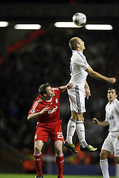 Arjen Robben towers above Jamie Carragher to make the header. Uefa Champions League, First knock-out round, second leg..Liverpool v Real Madrid, Anfield..10.03.09.