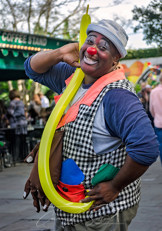 A street performer poses for a picture outside Cafe Du Monde, November 11, 2015, in New Orleans, Louisiana. (Photo by Carmen K. Sisson/Cloudybright)