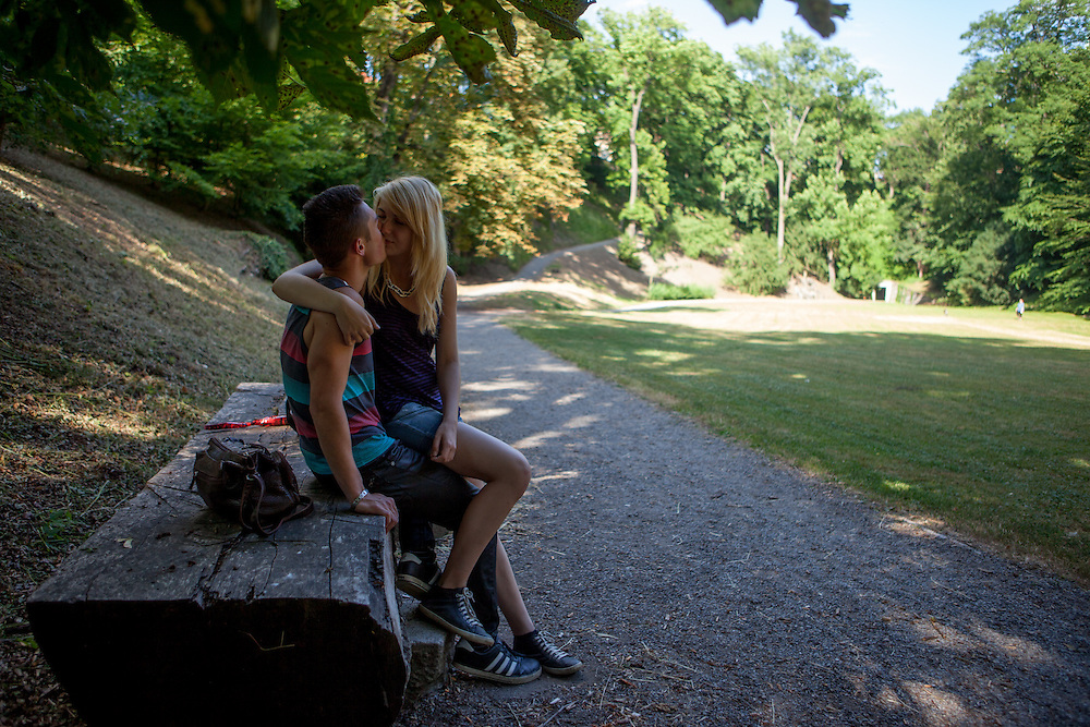"A young couple is spending their freetime on a Saturday afternoon at the ""Deer Moat (Jelenni prikop)""."
