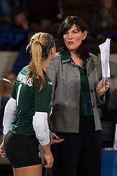 Michigan State Women's Volleyball team hosted Ohio University in the first round of the 2013 NCAA Division I Volleyball Tournament, Saturday, Dec. 07, 2013 at Memorial Coliseum in Lexington. Photo by Jonathan Palmer