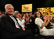 © Licensed to London News Pictures. 26/09/2012. Brighton, UK Lord Ashdown is applauded by Miriam Gonzalez Durantez. Deputy Prime Minister and leader of the Liberal Democrat Party, Nick Clegg, arrives with his wife Miriam Gonzalaz Durantez to deliver his keynote speech at the Liberal Democrat Conference at the Brighton Centre in Brighton today 25th September 2012. Photo credit : Stephen Simpson/LNP