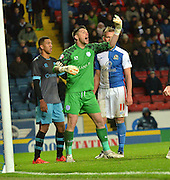 Sheffield Wednesday Goalkeeper, Keiren Westwood command the players and the play during the Sky Bet Championship match between Blackburn Rovers and Sheffield Wednesday at Ewood Park, Blackburn, England on 28 November 2015. Photo by Mark Pollitt.